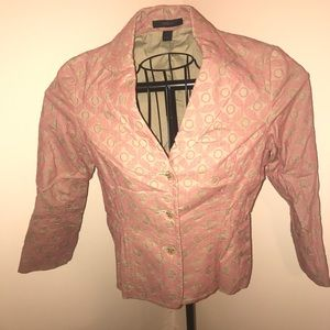 Pink and tan patterned blazer